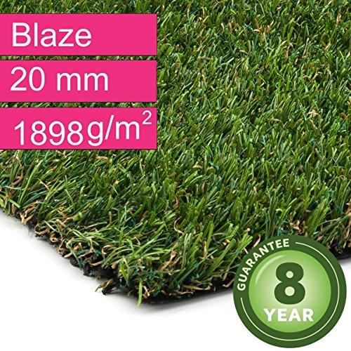 Kunstrasen Rasenteppich Blaze für Garten - Florhöhe 20 mm - Gewicht ca. 1898 g/m² - UV-Garantie 8...