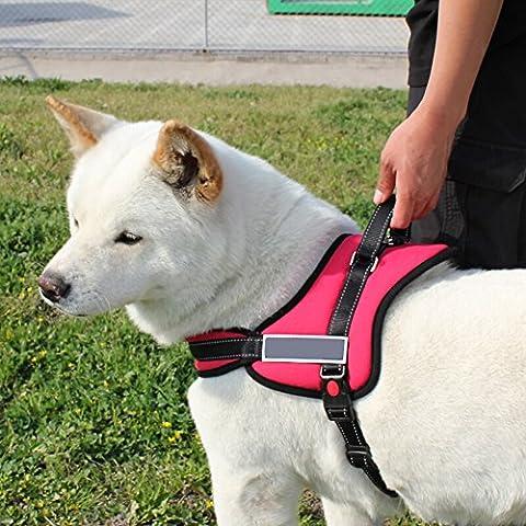 KAIXIN arnés del perro, Correa para perro Acolchada Cómodo Ajustable para perros grandes medianos,Apto para trotar, caminar, senderismo (rojo,