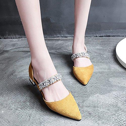 XY&GKDonna Sandali Baotou Estate Donna Sandali con tacco basso scarpe con punta Grossa All-Match Moda Donna Scarpe, 36, giallo,con il migliore servizio 35yellow