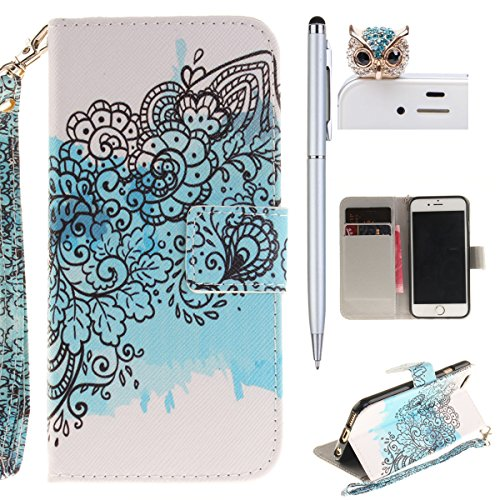 iPhone 6 Hülle,iPhone 6S Case - Felfy Flip Bookstyle Wallet Luxe Handyhülle Retro Painted Niedlich Farbe Muster Premium Slim PU Leather Stand Wallet Flip Lederhülle Case Cover Pouch Shell Soft mit TPU Strap Schmetterlings