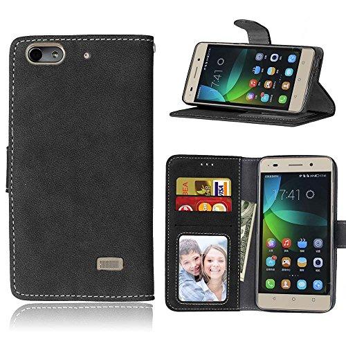 FQY-TEC Huawei Honor 4C Hülle, [Schwarz][Retro Matt][PU-Leder]&[TPU] Brieftasche,Kartensteckplatz,Ständer,Bilderrahmen Hülle für Huawei Honor 4C (5.0