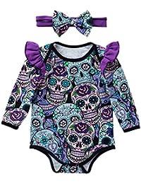 ALIKEEY Newborn Baby Girls Long Sleeve Halloween Cartoon Skull Mameluco Overol Blanco Naranja Surtido Salud Cuidado