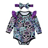 SEWORLD Baby Halloween Kleidung,Niedlich Neugeborenes Baby Mädchen Langarm Halloween Cartoon Schädel Spielanzug Overall(Violett,6 Monate)