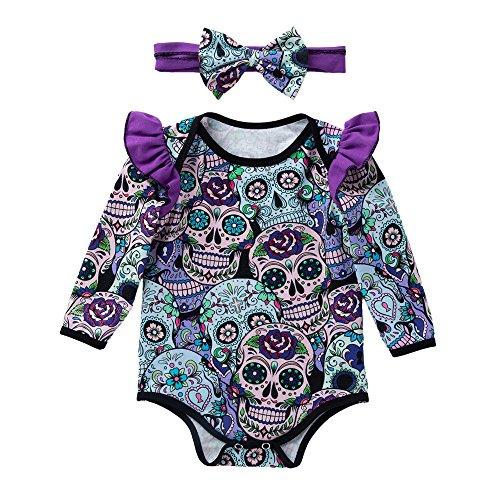 OverDose Damen Neugeborenen Baby Mädchen Langarm Halloween Cartoon Schädel Horror Individualität Design Weiche Spielanzug Overall ()