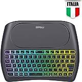QPAU [Layout Italiano Mini Tastiera Retroilluminata, 2.4Ghz Mini Tastiera Senza Fili Wireless con Touchpad per PC, Pad…