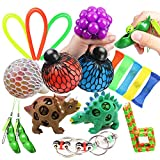 uBook 18 Pack Fidget Toys Sensory Toys Autism Stress Relief Toys Fiddle Toys Stress Balls for Kids and Adluts with a Gift Bag