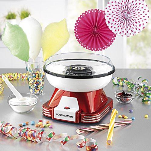 GOURMETmaxx 07329 Zuckerwatte-Maschine für zuhause | ideal für Kindergeburtstag | 500 Watt | Rot-Weiß -