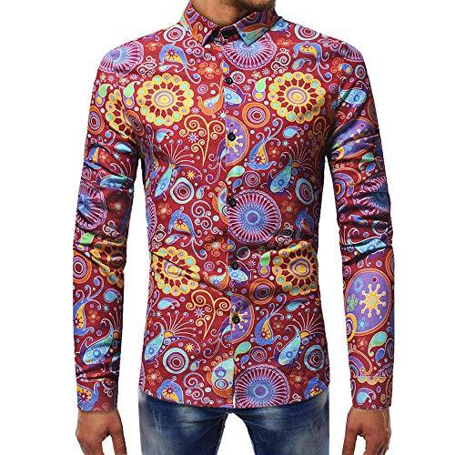 Makefortune Mens Dress Shirts Langarm Funky gedruckte Baumwollmischung Shirt Freizeithemd Phantasie Floral Tops Einzigartiges Muster