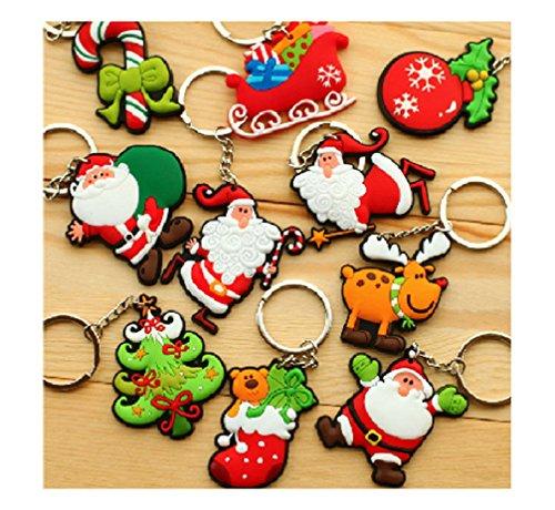10 Schlüsselanhänger Weihnachtsanhänger Weihnachtsmann Schneemann Baumschmuck Weihnachten Deko Anhänger