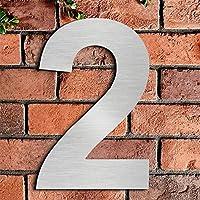 Cepillado número de casa 2 Two -20.5 cm 8.1 in-made de sólido Acero inoxidable 304 flotante apariencia, fácil de instalar