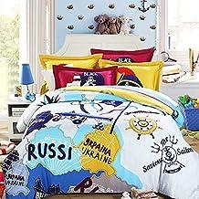 MeMoreCool Home Textile Cartoon pirata Diseño elegante Top grado Juego de cama de satén, 100% algodón funda de edredón y sábana encimera, 4piezas, Full, algodón, Multicolor, Matrimonio doble