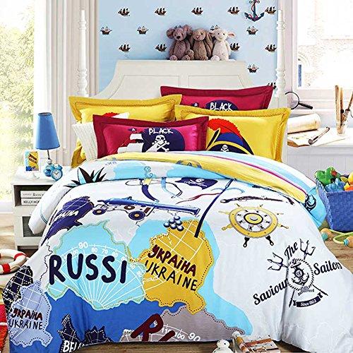 memorecool Haustierhaus Home Textile Cartoon Piraten Design Stilvolle hochwertige Satin Bettwäsche Set, 100% Baumwolle Bettbezug und Bettlaken, 4, Full, baumwolle, merhfarbig, - Piraten Twin Bettwäsche