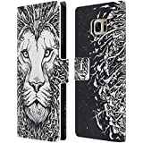 Head Case Designs Lion Mix Doodle Étui Coque De Livre En Cuir Pour Samsung Galaxy S7 edge