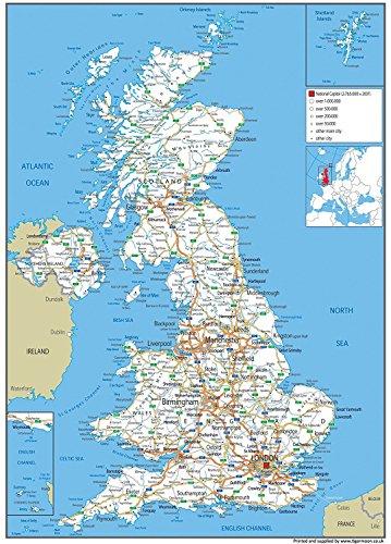 United Kingdom (UK) Auto-Karte/Poster, zeigt von –, Papier, groß, Städten Sportschuhe–119x 84cm - Papier Städte