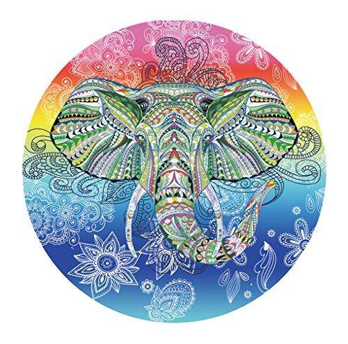 Bigood Tapisserie Vogue Imprimé Éléphant Couverture Yoga Camping Rond Serviette à la Plage Multicolore#C