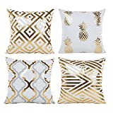 Hoomall Lot de 4 Housses de Coussin Decoration Oreiller Carré Taie d'Oreiller Décoratif pr Sofa Maison Housse de Canapé 45x45cm (Dessin 6)