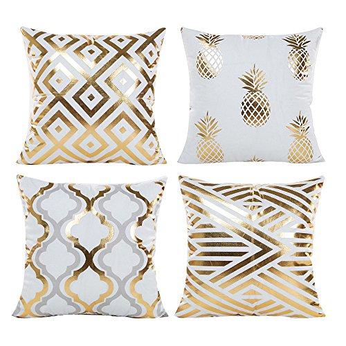 Wohnzimmer Sofa Mit Kissen - Souarts Kissenbezug Ultra weiche Gold Heißprägen