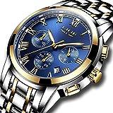 Uhren Herren Unisex Luxus Wasserdicht Sport Quarzuhr für Männer Edelstahl Geschäfts Mode Armbanduhr Männer Business Sport Herrenuhren(Blau)
