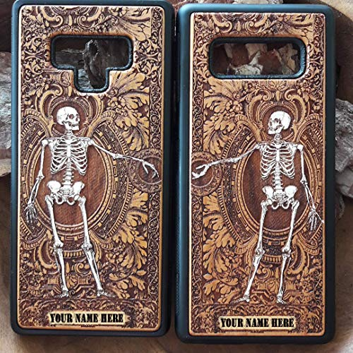 (Holz-Handyhülle Kompatibel mit iPhone XR/XS Max/X / 8/7 / 6 / 6s, Samsung Galaxy S9 / S10 Plus, Note 9/8 & Huawei P20 / Mate 20 Pro - Gotisches Paar