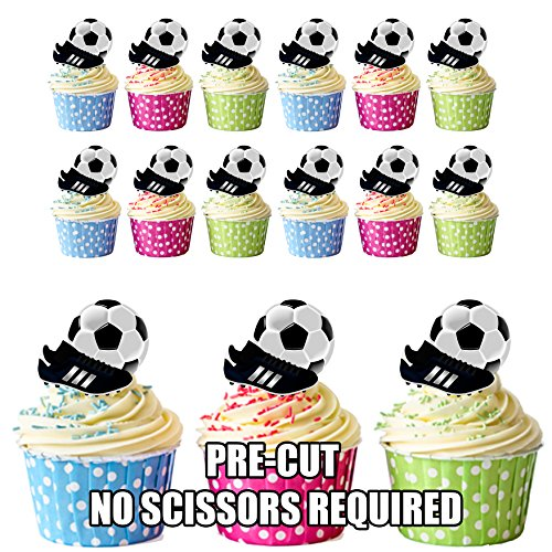 lschuh Party Pack Cup Cake Topper, essbar Stand Up Dekorationen, 12 (Fußball-cupcakes)