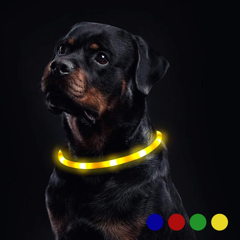 Toozey Luminoso Collares para Perro LED Durante 20 Horas de Luz Continua Impermeable, USB Recargable Cortable Tira de Luz para Collar de Perro de Seguridad Nocturna – 3 Modo (Azul)