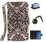 PU Carcasa de silicona teléfono móvil Painted PC Case Cover Carcasa Funda De Piel Caso de Shell cubierta para smartphone Samsung Galaxy J120(4.5pulgadas, J12016) SM de j120F + Polvo Conector amarillo 4