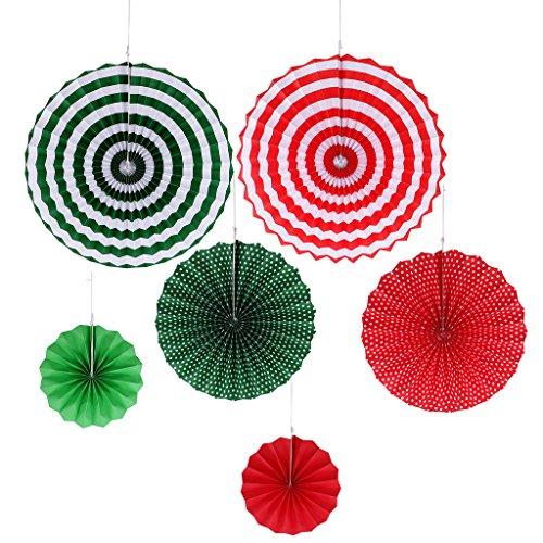 MagiDeal Deko-Fächer, Papierfächer, bunt Papier Fächer, Papier Fächer Deko, Paper Fan, Set/6Stück - Grün, 20 cm -