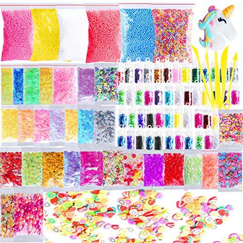Outee Slime Supplies Kit, 91 Packs DIY Slime Beads Charms einschließlich Schaumperlen, Fishbowl-Perlen, Glitterdosen, Fruchtscheiben, Regenbogenperlen, Muscheln, Buchstaben, Pailletten, Slime-Tools