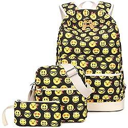 Greeniris Niedlich Rucksack Damen Cool Kinder Schulranzen Lächelnde Gesichter Büchertasche 3 Stück Set Mehrfarbig 3 Stück
