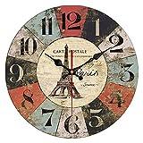 QIAOB 14'Vintage Colorido Francia París País francés Estilo Toscano Hogar Silencio Reloj de Pared Redondo de Madera Sala de Estar, Dormitorio,B