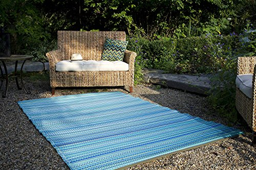 Fab Hab - Cancun - Türkis & Moosgrün - Teppich/ Matte für den Innen- und Außenbereich (120 cm x 180 cm) -