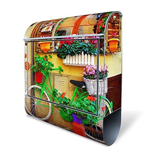 Banjado Design Briefkasten mit Motiv Grünes Fahrrad | Stahl pulverbeschichtet mit Zeitungsrolle | Größe 39x47x14cm, 2 Schlüssel, A4 Einwurf, inkl. Montagematerial