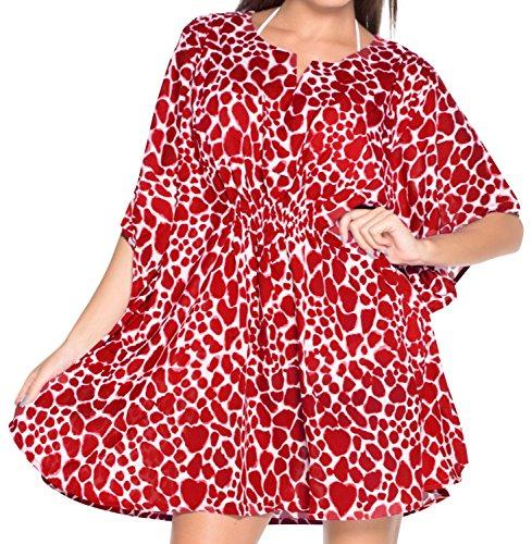 La Leela Super donne kimono elastico likre hawaiano 4 in 1 spiaggia di occultamento bikini tunica top abbigliamento casual di base plus size costume da bagno bikini donne caffettano rosso