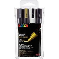 POSCA - Uni Mitsubishi Pencil - 4 Marqueurs PC5M - Couleurs Métalliques - Pointe Conique - Pointe Moyenne - Marqueurs…