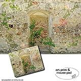 Geschenkset: 1 Poster Kunstdruck (120x80 cm) + 1 Mauspad (23x19 cm) - Mauern, Romantische Garten-Mauer