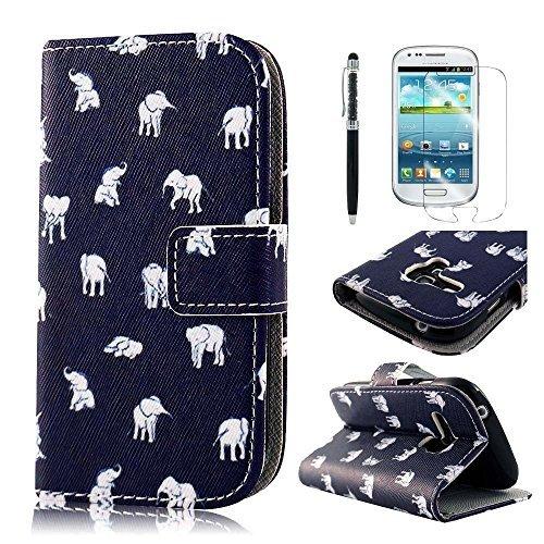 PhoneCase Klein Elefant Muster Bottom Series PU Leder Wallet Schutzhülle mit Display Schutzfolie für Samsung Galaxy S3 mini inkl. Stylus Stift schwarz/weiß (Samsung S3 Mini Handy-fällen)