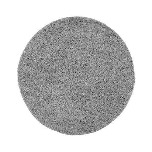 Shaggy-Teppich, Flauschiger Hochflor Wohn-Teppich, Einfarbig/ Uni in Grau für Wohnzimmer, Schlafzimmmer, Kinderzimmer, Esszimmer, Größe: 120 x 120 cm Rund