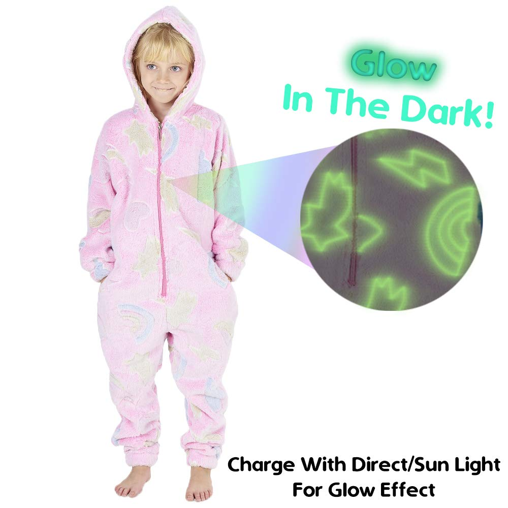 CityComfort-Glow-in-The-Dark-Onesie-Kids-Onesies-for-Girls-Rainbow-Unicorn-Pyjamas-3-14-Years-Old