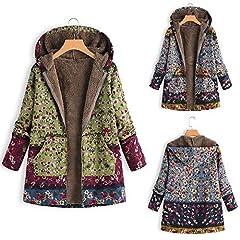 842549f7b4d437 Womens Casual Coat Toamen Winter Vintage Floral Print Pocket .