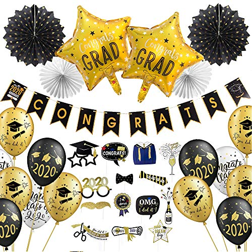 Decorazione di festa laurea, palloncini laurea cappello congratulazioni decorazione, bastoni laurea photo booth, you did it class of 2019, nero bianco oro