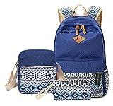Greeniris Women Canvas Backpack College SchoolBackpack Laptop Backpack+Crossbody Handbag+Wallet 3 Piece Set