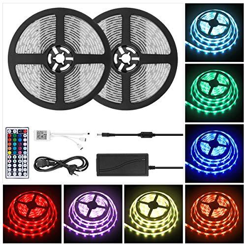 Strip Led Leuchte (LED Strip Light RGB 10M, Wasserfestes LED Streifen RGB Dimmbar Leuchten 300 SMD 5050 Lichtstreifen Saiten Leuchten Lichtband Flexibel Seil Licht mit IR Fernbedienung & 12V Stromversorgung)