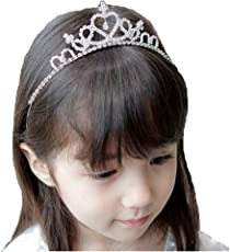 Ziory 1 Pcs Silver Plated Crystal Crown Princess Tiara Hairband For Baby Girls