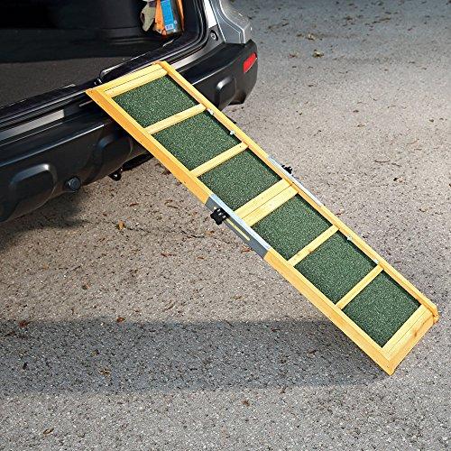 Melko Hunderampe 120 x 30 cm Teleskop Hundetreppe fürs Auto mit Anti-Rutsch-Belag, klappbar