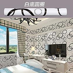 ZCHENG El papel para pared autoadhesivo de 45 cm de ancho impermeable del papel pintado 10 metros de un dormitorio Sala de estar auto-adhesivo del papel pintado, círculo blanco con un 10 M, Large661645