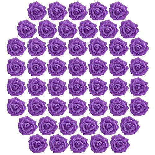 Kicode Rose blüht Blumenstrauß künstliche Schaum Packung mit 50 Stück 2.4in 14 Farben Wedding Bouquets Mittelstücke Party-Baby-Dusche Dekorationen DIY (Für Ein Baby-dusche Mittelstücke)