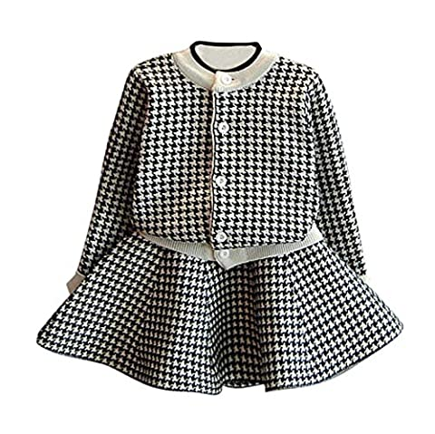HKFV Superb New Design Autumn Winter Dress Toddler Kids Baby Girls Outfit Clothes Plaid Knitted Sweater Coat Tops+Skirt Set (Black