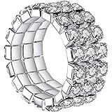 Boburyl 3 Ligne élastique Bague en Cristal Extensible Strass Bague Joint Femme Fille Accessoires Bijoux