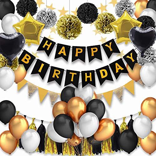 PushingBest Geburtstagsdeko, Geburtstag Dekoration 53 Stück Dekoration Zubehör Safe Material Happy Birthday Banner, Latexballons mit Schwarze /Gold Herzfolienballons, Quasten Girlande