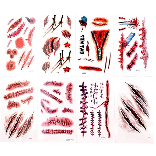 Wommty Halloween Zombie Scars Vampire Tattoo Wounds Temporary Tattoos Makeup Tattoos Stickers with Fake Scab Blood Special Body Makeup Props, 8 Different Design Sheets